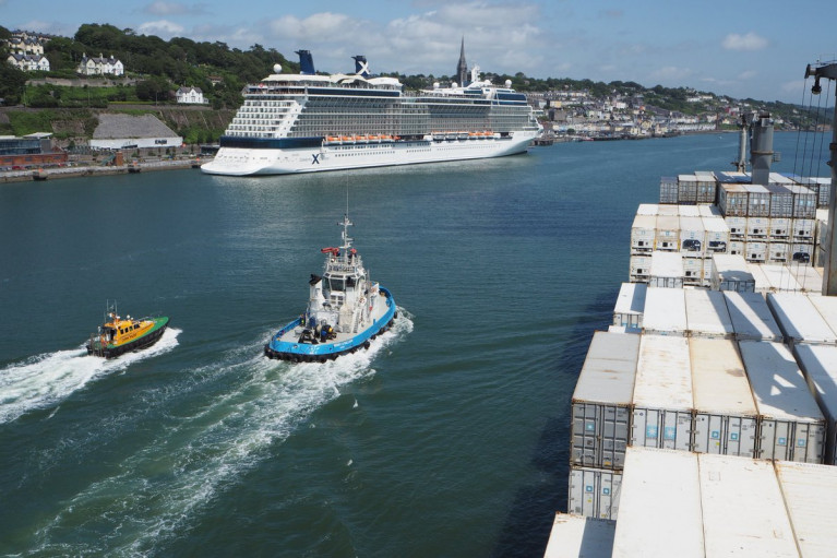 """We expect to be heading to 150 cruise liner visits per year in the late 2020s when the two Cobh terminals are open,"" said Port of Cork chairman, John Mullins. Above AFLOAT adds is Cobh where a Celebrity Cruises 'Solstice' classship is seen from a Maersk containership 'banana boat' that departed from nearby Ringaskiddy, where the Deepwater Berth, the PoC plan to use less for large cruiseships due to increased freight demand. This will concentrate cruise operations already existing at Cobh and a add a new 'interim' mini-cruise berth upriver at Marino Point."