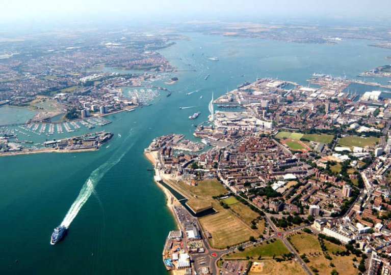 Portsmouth Harbour in Hampshire, England