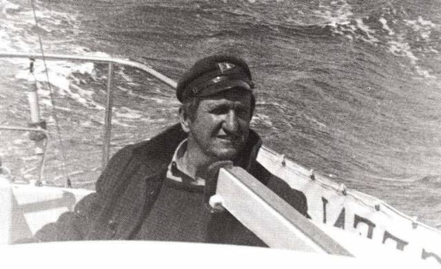 Dave FitzGerald in his element, far at sea in 1970 on passage from Galway to Brittany in the Snapdragon 26 Pegeen