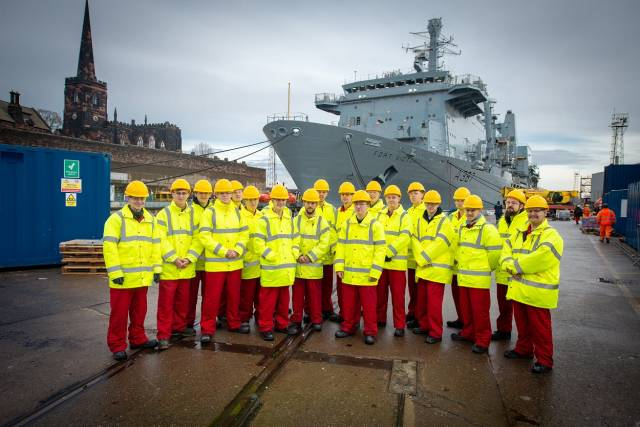 Among projects in the work pipeline for the Merseyside based shipyard of Cammell Laird (which in October 2018), won two 10-year contracts to support the Royal Fleet Auxiliary (RFA) worth an estimated £619 million. Above AFLOAT adds apprentices at the dry-dock facility in Birkenhead with the veteran RFA Fort Victoria (A387) an auxiliary oiler replenishment (AOR) ship which also transports ammunition, fuel, food and supplies to the UK's Royal Navy.