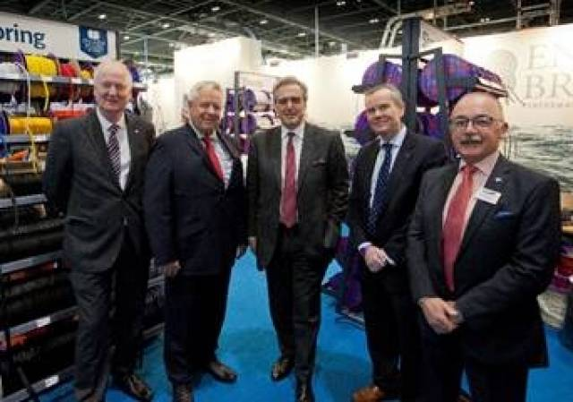 [L-R: At the London Boat Show today - Howard Pridding, Chief Executive Officer at British Marine; Peter Earp, Owner of English Braids/Marlow Ropes; Mark Garnier MP, Parliamentary Under Secretary of State at the Department for International Trade; Richard Edge, Sales Director for Marlow Ropes; David Pougher, President of British Marine]