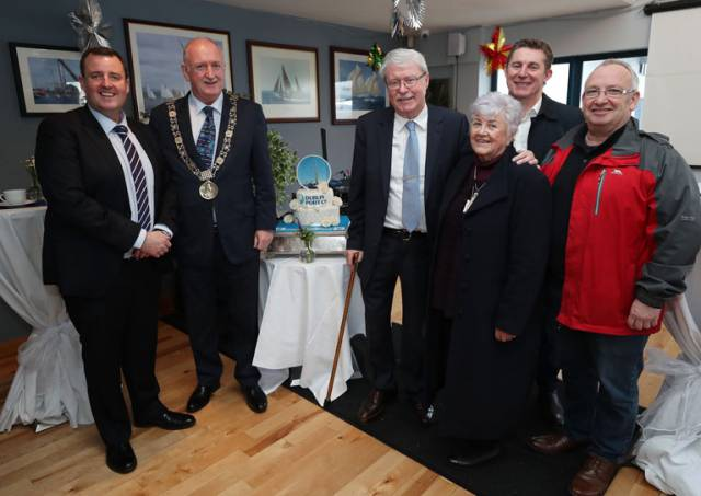 From L to R: Dublin Port Company Harbour Master Michael McKenna and Lord Mayor of Dublin Nial Ring join Poolbeg Training CLG representatives Manager Denis Murphy, Betty Ashe of Pearse Street, Tim Darmody of the Docklands and Jimmy Murray of Ringsend