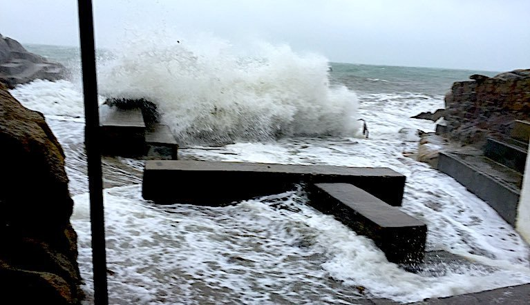 Stormy conditions are expected to last mot of this week at the Forty Foot bathing place on Dublin Bay