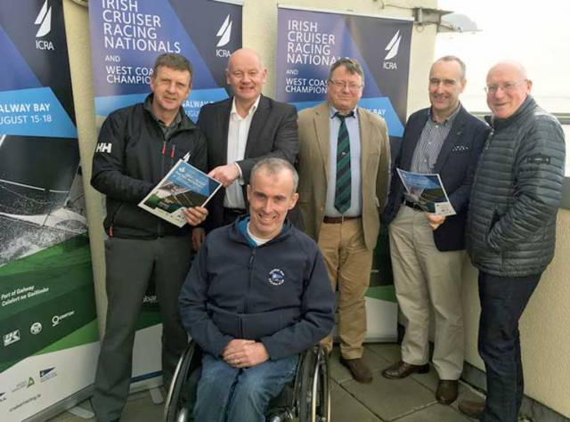Galway Bay launch - Simon Mc Gibney ICRA Commodore / WIORA Commodore, Captain Brian Sheridan Harbour Master Galway Port, Gary Allen Commodore Galway Bay Sailing Club, Rory Carberry Irish Sailing Board Member, Martin Breen Event Chairperson and Denis Kiely ICRA Honorary Secretary