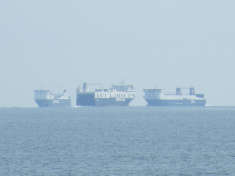 Foreign Affairs Minster Simon Coveney addressed an IEA's Brexit webinar to update on EU-UK negotiations, Brexit readiness and what exporters/importers can expect from 1 January 2021. Above Afloat's photo of ro-ro freight-ferries in close proximity on the Dublin Bay horizon.