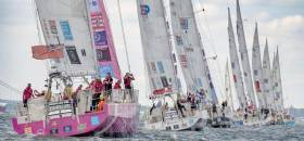 The Clipper Race fleet departing New York on Monday