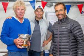 Glandore Harbour Yacht Club's Lawrie Smith with Gonçalo Ribeiro and Pedro Andrade, the 2018 Etchells European Champions