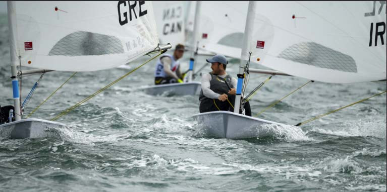 Finn Lynch competing in day one of the Laser Worlds