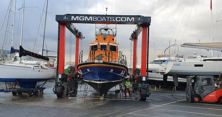 Arklow's Trent Class RNLI lifeboat is lifted for maintenance at MGM Boats in Dun Laoghaire