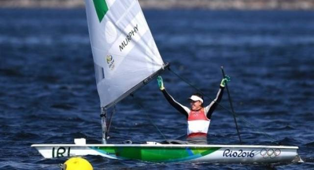Annalise Murphy in celebratory mood on her medal-winning Laser Radial in Rio this summer