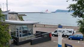"Operator Stena Line said it did not now ""have a timescale for future developments"" at Fishguard. Afloat adds the ferry to Rosslare Stena Europe is seen off the breakwater."