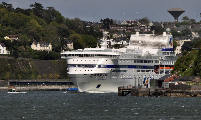 Brittany Ferries have been forced to 'cease' all services for the time being, across their route network including Ireland-France/Spain due to Covid-19 advise from governments among them Ireland. Above flagship Pont-Aven which otherwise operates the seasonal Cork-Roscoff route is seen last year arriving in Cork Harbour where on the left is Cobh Cruise Terminal (see blue pontoon) on to the right is the Irish Naval Service Base on Haulbowline Island.