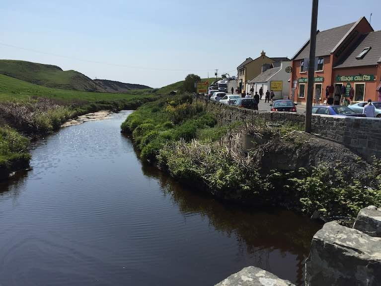 Doolin village and the River Arra that flows into the bay in County Clare