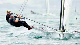 Robert Dickson (Howth YC) and Sean Waddilove (Skerries Sailing Club) in action in Auckland