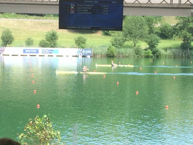 Victoria Thornley of Britain and Sanita Puspure race at Lucerne today