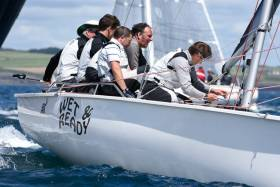 Anthony O'Leary's Wet'n'Ready competing in today's final races of the 1720 European Championships staged as part of the O'Leary Life Sovereign's Cup off Kinsale. Scroll down for more photos