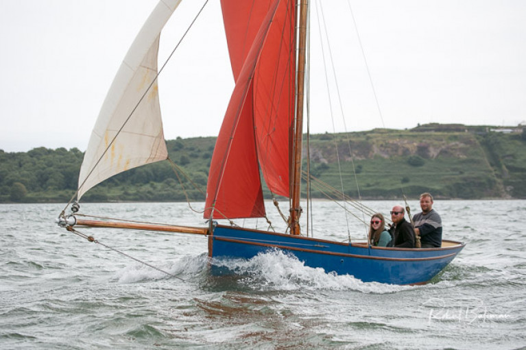 Gus O'Donovan sailing with friends in his new Pilot Cutter in Cork Harbour