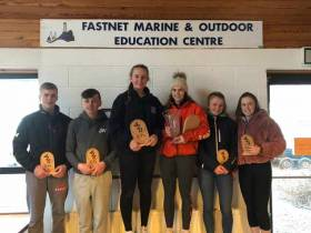 The 420 Munster Championships gold fleet winners on the podium in Schull: 1st Gemma McDowell and Emma Gallagher, Malahide Yacht Club  2nd Grace O'Beirne and Kathy Kelly, Royal St. George Yacht Club  3rd Michael O'Suilleabhain and Michael Carroll, Kinsale Yacht Club
