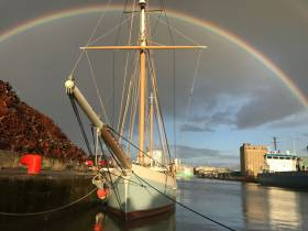 Somewhere, under the rainbow…..the bright side of the rainstorm favours the Ilen in the Ted Russell Dock in Limerick – she has her own private rainbow, when everyone else was facing flash flood warnings