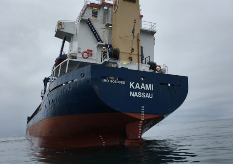 The MV Kaami rests in The Minch at the known local hazard Eugenie's Rock