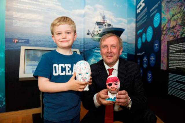 Birthday boy Hugo Johnston (7) joined Marine Minister Michael Creed to open 'Sea Science - the Wild Atlantic' at Galway City Museum