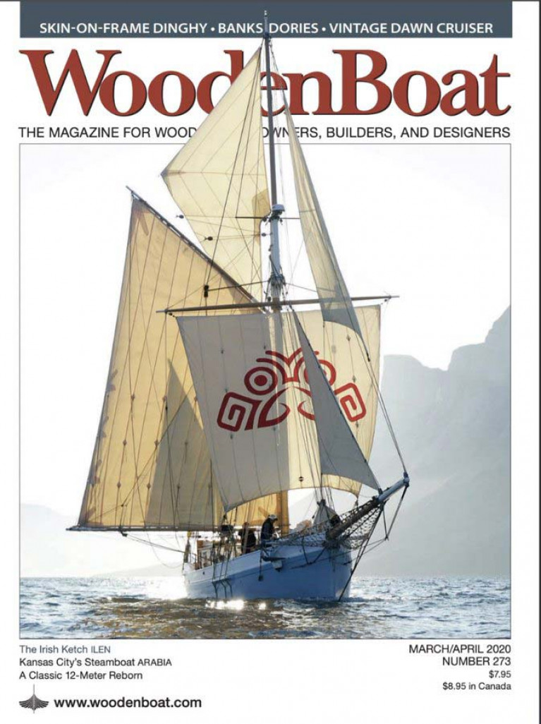 The essence of the restored Ilen is captured in this evocative WoodenBoat cover photo taken in Greenland waters last summer by Gary Mac Mahon, Director of the Ilen Project and skipper for the outward Transatlantic voyage from Limerick to Greenland's capital of Nuuk