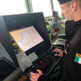 "The bridge of the Irish Naval Service flagship, LÉ Eithne accredited as the first ship in the history of the navy to achieve ""paperless navigation""."
