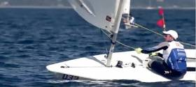 The moment Irish Laser sailor Finn Lynch crosses the line to take his first ever World Championship race win. Scroll to 33 seconds on the video below to see more of the Irish win in Aarhus