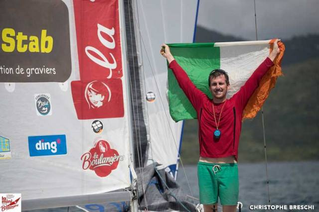 Top five for Tom Dolan in the Mini Transat. It took 15 days, 1 hour, 49 minutes, 10 seconds and an average speed of 8,13 knots for the County Meath sailor to make the crossing