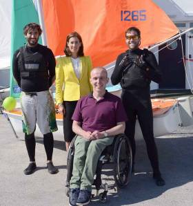 At the opening of the re-vamped GBSC clubhouse on Sunday were (left to right) RS 400 sailor Nicholas Tobo from France, Hildegarde Naughton TD who performed the opening ceremony, former Commodore Gary Allen who heads the GBSC Building Group, and RS 400 crew Stephen Norman (USA) Photo: Murt Fahy