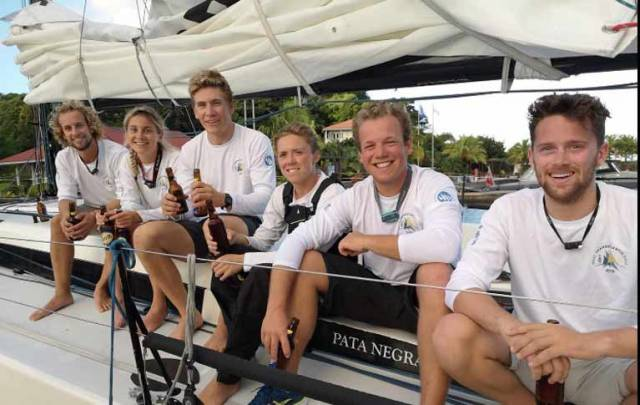 Conor Totterdell (left) with Pata Negra crewmates in Grenada