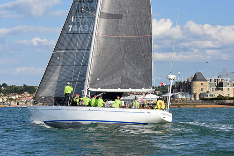 Racing certainty? The 1971-vintage S&S 49 Hiro Maru (Hiro Nakajima) crossing the finish line at the Royal Yacht Squadron in Cowes to win Class 3 in the 2019 Transatlantic Race. Hiro Maru is currently the senior entry in the SSE Renewables Round Ireland Race 2020, and the favourite to be the first winner of the Maybird Mast Trophy for the oldest boat to complete the course, while also being well in the reckoning for other honours.