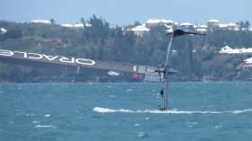 Team Oracle in trouble: capsizing after a foiling gybe at high speed in Bermuda on Wednesday 10 May