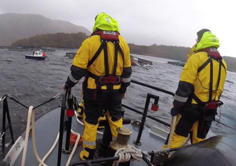Oban RNLI approaching the broken down fishing boat in Loch Etive
