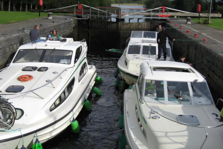 File image of leisure boats in Albert Lock on the Shannon Navigation