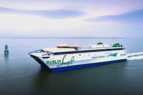 New to the Irish Sea, Dublin Swift a high-speed craft ferry completed its maiden voyage this morning from Dublin to Holyhead.