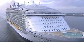 Harmony of the Seas: The world's largest cruise ship sailed to Southampton yesterday. The massive ship has a 10-storey slide and 23 swimming pools