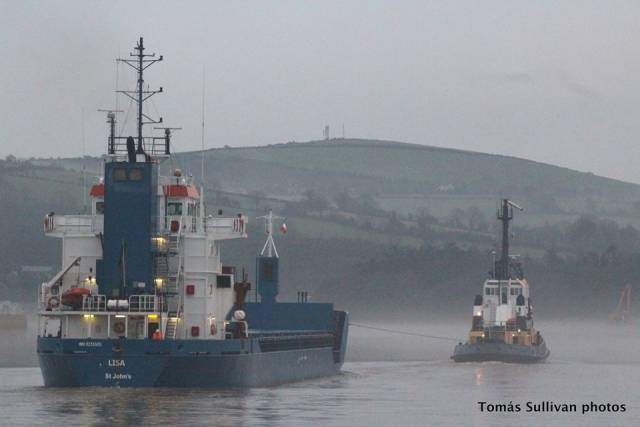 After grounding on the River Barrow cargoship Lisa is towed by Bargarth upriver to New Ross Port more than a week ago. On the neighbouring River Suir, newbuild Arklow Cape docked at Belview, Port of Waterford yesterday evening.