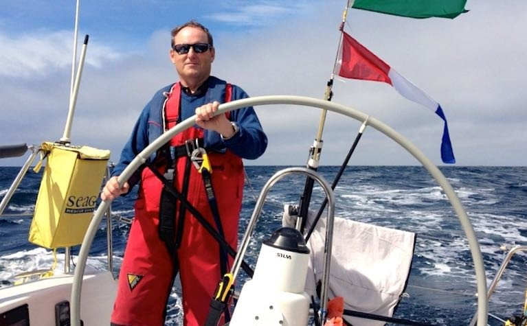 Peter Ryan at the helm of the J/109 Mojito in the 2013 Fastnet Race. An active offshore racer since the 1980s, he continues in the sport while making a significant contribution to its administration