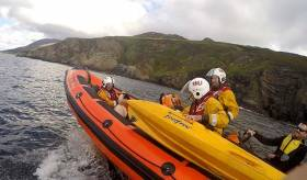 Lough Swilly RNLI rescue a distressed sheep after 200ft cliff fall