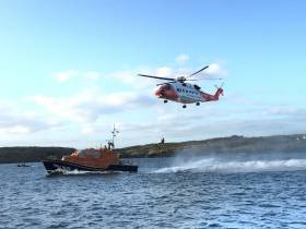 Baltimore all-weather lifeboat on exercise with Rescue 117 prior to call out on Saturday 7 September