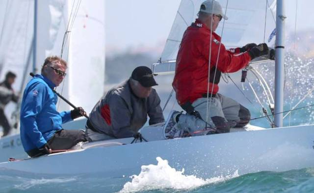Martin Byrne's Jaguar Sailing Team at the recent European Cup event in Cascais with Brian Matthews & Mark Pettit.