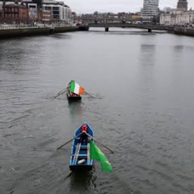 Currachs on the Liffey for the centenary celebrations of the first Dail.