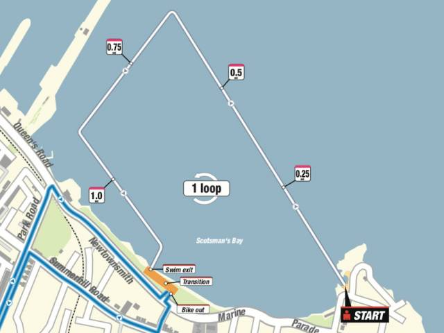 The swim course to kick off IRONMAN 70.3 this Sunday