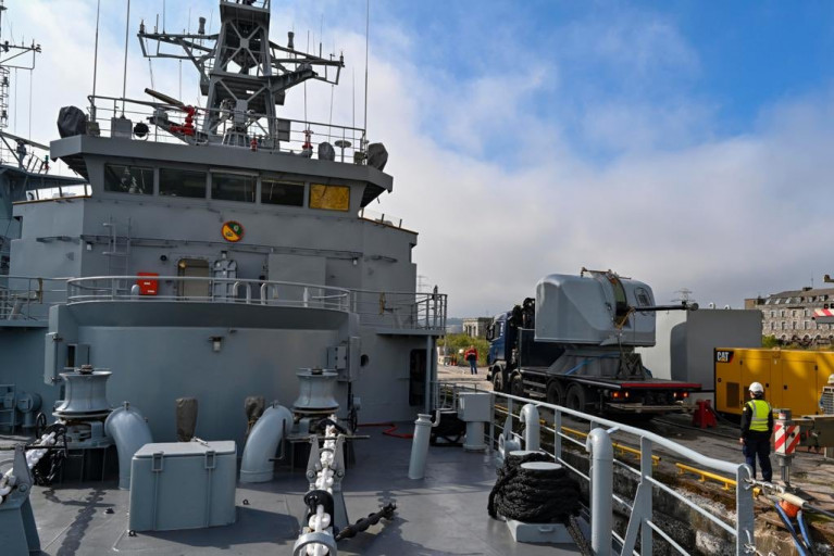 Irish Naval Service Flagship Sees Return of Refitted Main Arnament