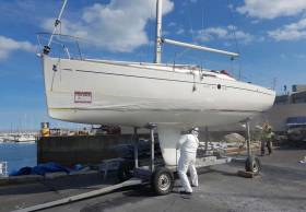 MGM Boatyard complete an antifoul spray on a racing yacht at their Dun Laoghaire Harbour Yard. See video below.