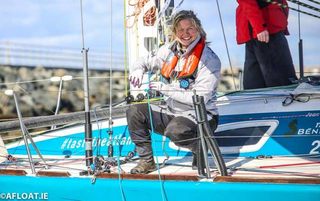 County Mayo's Joan Mulloy arrives at the Royal Irish Yacht Club in Dun Laoghaire
