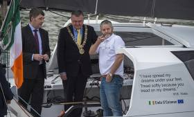 Dr Peter Heffernan Chief Executive (Marine Institute), Lord Mayor of Dublin Brendan Carr with Enda O'Coineen, skipper of the Irish Vendee Globe bid, the Kilcullen Voyager
