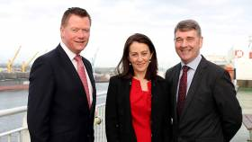 Pictured onboard Irish Ferries' Ulysses at Dublin Port to launch the fourth Our Ocean Wealth Summit are PwC advisory partner Declan McDonald, tax partner Yvonne Thompson and Marine Institute CEO Dr Peter Heffernan