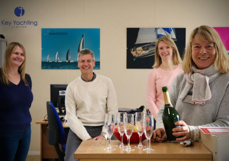 From left: new owners Hayley Quinn and Wayne Palmer with Hannah Le Prevost and Marie-Claude Heys
